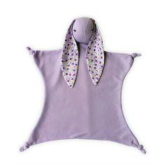 Purple Bunny Security Blanket, Baby Felt Toy, Lovey Blanket, With Purple interlock knit super soft cotton, Flowered Ears, Stuffed animal. $22.00, via Etsy.