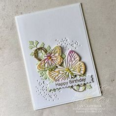 Paper Butterflies, Butterfly Cards, Happy Birthday Jan, Tiny Flowers, Diy Projects To Try, Stampin Up Cards, Birthday Cards, Card Making, Wings