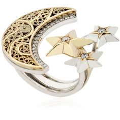 Azza Fahmy Women Crescent Moon & Stars Ring (14.820 BRL) ❤ liked on Polyvore featuring jewelry, rings, gold, azza fahmy, star ring and star jewelry