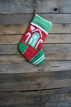 Vintage Green White & Red Quilted Cotton Christmas by vintapod