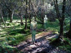 Scotland based installation artist Rob Mulholland wants to capture the relationship between people and nature with his reflective 'invisible' statues made from acrylic glass (Perspex). The female and male bodies are shaped in life-size and are located deep in the woods of Scotland, where nature makes the best camouflage.  These empty mirrored figures are eerie in the way their surface slightly warps the view of the forest.