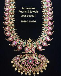 Beautiful long haaram with mango hangings. Long haaram with dancing peacock pendant. For More info WhatsApp : 99660 00001 Indian Wedding Jewelry, Bridal Jewelry, Indian Bridal, Gold Jewellery Design, Gold Jewelry, Jewelery, India Jewelry, Jewelry Sets, Antique Jewelry