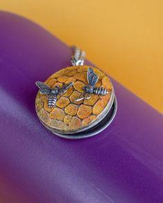 Bee Locket Necklace Vintage Brass Locket by SkeltonsTreasures