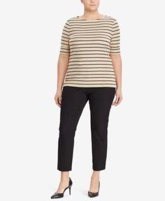 Lauren Ralph Lauren Petite Striped Jacket Nvy wht P M
