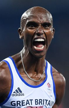 Rio Brazil 20 August 2016 Mo Farah of Great Britain celebrates after winning… Rio Olympics 2016, Summer Olympics, Strong Black Man, Black Men, Rio 2016 Pictures, Mo Farah, World Athletics, Athletic Events, Cross Country Running