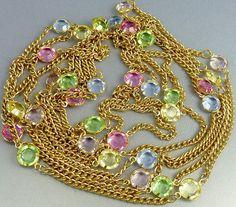 Vintage Bezel Set Crystal Neclace Pastel Colors 90 by jujubee1