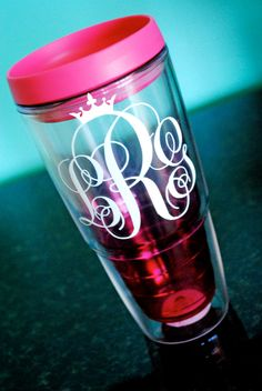 Pageant Crown Monogram Tumbler Ombre PERSONALIZED via Etsy