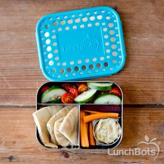 Love this combo! Pita, hummus, and veggies for a healthy snack on the go. #backtoschool #trio #lunchbots