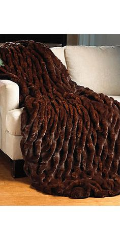 Mahogany Mink Couture Collection Ruched Throw by Fabulous Furs.