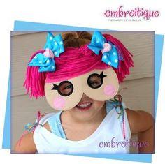 Rag Doll Yarn Hair Mask 1 - In The Hoop -Princess Mask set - Halloween - Mardi Gras - Machine embroidery design applique. $5.99, via Etsy.