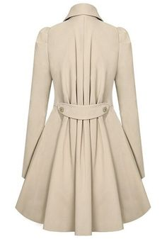 Apricot Plain Double Breasted Military Peplum Peacoat Trench Coat - Outerwears - Tops