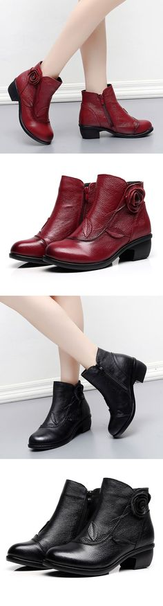 US$42.33   SOCOFY Retro Handmade Floral Soft Ankle Leather Boots