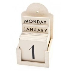 East of India Cream Wooden Perpetual Calendar - East Of India from Mollie & Fred UK