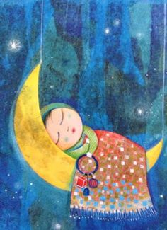 Sleeping on moon shared by Cècely Loontjens on We Heart It Illustrations, Illustration Art, Art Mignon, Ramadan Crafts, Good Night Greetings, Sun And Stars, Good Night Moon, Nighty Night, Beautiful Moon
