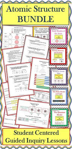These FIVE student-centered, guided inquiry lessons enable students to construct their own understanding of important concepts about atomic structure. Students are able to actively learn the material without lecture or note taking. This bundle contains the following five lessons: Early Models of the Atom, Protons, Electrons, and Neutrons, Isotopes & Atomic Mass, The Bohr Model & Light, The Quantum Model of the Atom (includes electron configurations and orbital notations).
