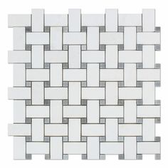 Thassos White Marble Honed Basketweave Mosaic Tile w/ Blue-Gray Dots