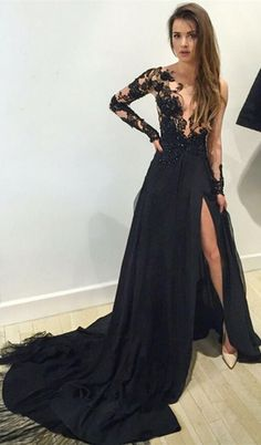 Black Long Sleeves Prom Dresses 2016 Lace Deep V Neck Thigh-High Slit Sexy Evening Gowns, prom dresses black, lace prom dresses