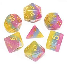 HD Polyhedral Dice Sets D/&D Dice for Dungeon and Dragons RPG Role Playing Games MTG Pathfinder Table Top Games 7 Dice Set Purple Whirlwind