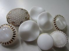 Vintage buttons 8 beautiful assorted all white by pillowtalkswf, $7.00