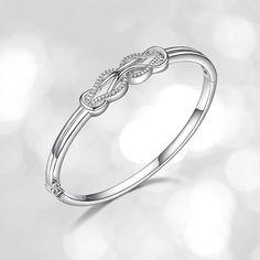 cafef2034 Sterling Silver Diamond Double Knot Bangle Bracelet cttw, J Color, Clarity)