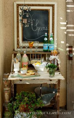 Old table becomes a refreshment station/bar. Love the styling here www.mysoulfulhome.com via ModVintageLife.com