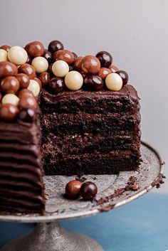 Double Coffee Chocolate Cake with Dark Chocolate Fudge Frosting and Topped with Chocolate Malt Balls