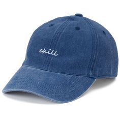 "Women's SO® ""Chill"" Denim Baseball Cap (€8,25) ❤ liked on Polyvore featuring accessories, hats, blue other, blue ball cap, embroidered baseball caps, embroidered hats, baseball cap and adjustable hats"