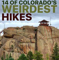 14 of Colorado's Weirdest Hikes Colorado Trip, Colorado Homes, Colorado Springs Hikes, Colorado Backpacking, Camping And Hiking, Rv Camping, Colorado Vacations, Colorado College, Hiking Staff