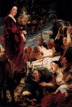 Jacob JORDAENS  [Flemish Baroque Era Painter, 1593-1678]  Offering to Ceres, Goddess of Harvest1618-20