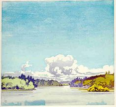 Walter J. Phillips (1884-1963) Winnipeg River at Minaki, 1919 colour woodcut on paper (edition: 50) 17.6 x 18.9 cm  The motif was also used in a 1917 etching with a similar title.