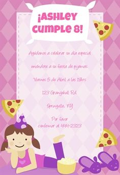 """""""Fiesta De Pijamas"""" printable invitation template. Customize, add text and photos. Print or download for free!"""