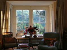 sitting room with window seat, September, Dorset.