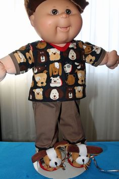 Cabbage Patch Doll Cloths -Boys Teddy bear pj's and slippers fits TRU or BLE…