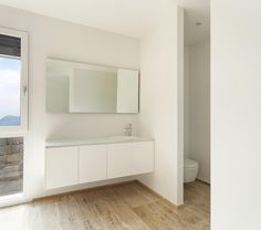 Vanity Area With Privacy Wall Between Toilet