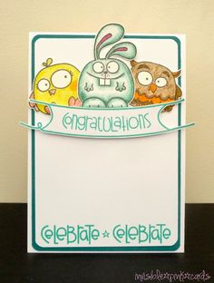Congratulations card by Pink Unicorn - Paper Smooches - Chubby Chums, Sentiment Sampler