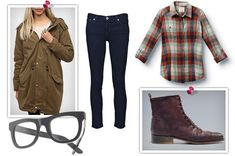 plaid shirt, combat boots, military jacket