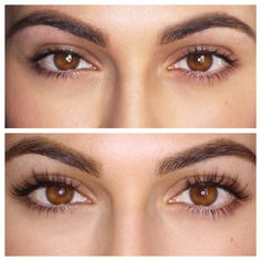 eyelash extensions before and after | have no eye makeup on in either photo… Look at the difference!