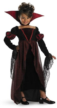 Child Princess Vampira : This Adorable Vampiress Includes Empire Waist Gown  With Red Shimmer Overlay, Long Sleeves With Gothic Lace Cuffs And Stand Up  ...