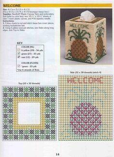 Plastic Canvas Tissue Boxes, Plastic Canvas Patterns, Kleenex Box, Box Patterns, Pineapple Pattern, Tissue Box Covers, Needlepoint, Needlework, Decorative Boxes