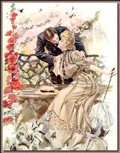 Beijo, ilustração de Harrison Fisher (EUA, 1875-1934)