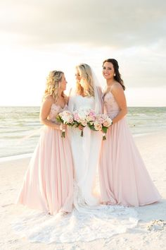 These are beautiful beach wedding bridesmaid dresses!