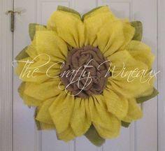"Extra Large Burlap Sunflower Wreath, 30"" Yellow Sunflower, Spring Wreath, Summer Wreath, Customizable Wreath, Trendy Yellow Sunflower Wreath - pinned by pin4etsy.com"