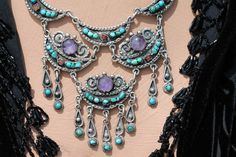 Vintage Mexican Taxco Sterling Silver Amethyst Turquoise Chandelier Necklace