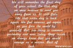 We still remember the first day, Graduation Message From Parents Graduation Messages From Parents, High School Graduation Quotes, 8th Grade Graduation, Congrats Graduate Quotes, Letter To Daughter, Multiplication Facts Practice, Yearbook Quotes, Life Words, Daughter Quotes