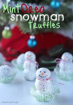 Mint Oreo Snowman Truffles. Found these today when looking for the oreo truffle recipe. How cute are these little guys???