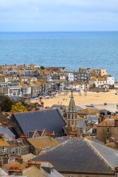 Seaside Village of St. Ives, Cornwall, UK. Roof top view of the..