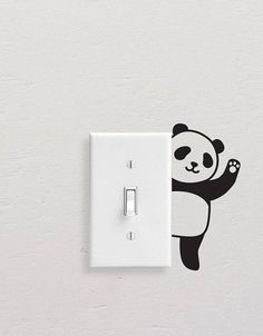 Panda Wall Decals, Panda Light Switch Decal, Simple Panda Vinyl Wall Decal, Panda Stickers, Light Switch Sticker Add style to simple switch plates with our Panda Wall Decal Set! This set includes five Simple Wall Paintings, Creative Wall Painting, Wall Painting Decor, Creative Art, Unique Wall Art, Diy Wall Art, Diy Wall Decor, Simple Wall Art, Wall Art Designs