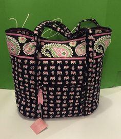 NWT Vera Bradley Vera XL Tote Handbag In Pink Elephants #VeraBradley #TotesShoppers