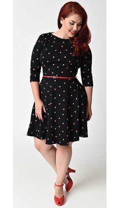 Unique Vintage Plus Size Black & Apple Print Orchard Knit Flare Dress