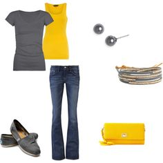 gray and yellow, created by ohsnapitsalycia on Polyvore
